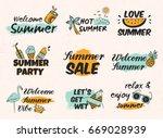set of vintage hand drawn... | Shutterstock . vector #669028939