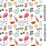summer seamless background in... | Shutterstock . vector #669028969