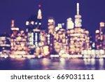 blurred vintage toned manhattan ... | Shutterstock . vector #669031111
