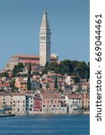 the view of the city of rovinj  ... | Shutterstock . vector #669044461