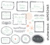 hand drawn frames  flowers ... | Shutterstock .eps vector #669052465