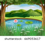 forest scene with pond and... | Shutterstock .eps vector #669053617