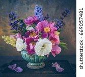 beautiful still life bouquet of ... | Shutterstock . vector #669057481