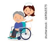 nurse and elderly man in... | Shutterstock .eps vector #669065575
