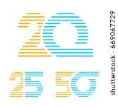 20 25 50 anniversary line...   Shutterstock .eps vector #669067729