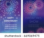 a set of two vector fireworks... | Shutterstock .eps vector #669069475