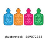 group of men paper targets | Shutterstock .eps vector #669072385