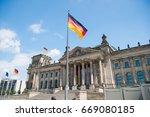 german flags waving in the wind ... | Shutterstock . vector #669080185