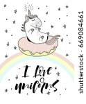 magic cute unicorn on donut...   Shutterstock .eps vector #669084661