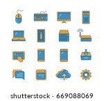 line icon set of network and... | Shutterstock .eps vector #669088069