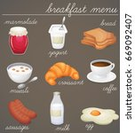 breakfast menu icon set... | Shutterstock .eps vector #669092407
