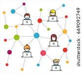social network flat illustration | Shutterstock .eps vector #669092749