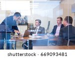 cheerful business people... | Shutterstock . vector #669093481