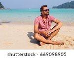 happy attractive man  man in... | Shutterstock . vector #669098905