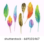 set of watercolor feathers.... | Shutterstock . vector #669101467