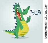 cool cartoon crocodile or... | Shutterstock .eps vector #669102739