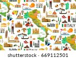 map of italy and travel icons... | Shutterstock .eps vector #669112501