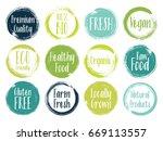 vector organic labels  bio... | Shutterstock .eps vector #669113557