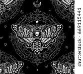 seamless monochrome pattern ... | Shutterstock .eps vector #669115441