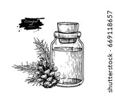 pine essential oil bottle and... | Shutterstock .eps vector #669118657