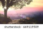 beautiful eden garden sunset. | Shutterstock . vector #669119509