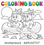 coloring book native americans...   Shutterstock .eps vector #669132727