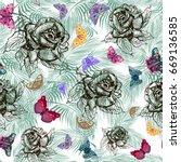 seamless pattern  monochrome... | Shutterstock .eps vector #669136585