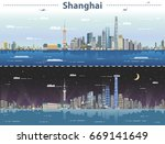 shanghai day and night vector...