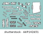 strips of masking tape and note ... | Shutterstock .eps vector #669142651