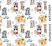 seamless pattern with cute... | Shutterstock . vector #669144859