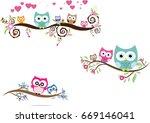 owl cute in vector | Shutterstock .eps vector #669146041
