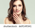 beautiful woman face portrait... | Shutterstock . vector #669149341