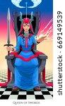 queen of swords  tarot card.... | Shutterstock .eps vector #669149539