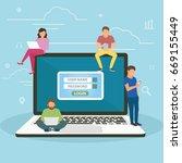 social network web site surfing ... | Shutterstock .eps vector #669155449