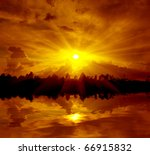 Landscape With Hot Sunset Over...