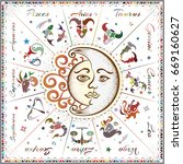 zodiac signs  horoscope  vector ... | Shutterstock .eps vector #669160627