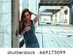 woman using mobile phone for... | Shutterstock . vector #669175099