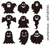 halloween ghost fall icon | Shutterstock .eps vector #669185581