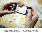 chef making picture of flour... | Shutterstock . vector #669187525