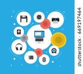 flat icons hard disk  printer ... | Shutterstock .eps vector #669197464