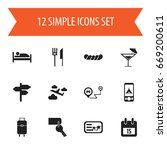 set of 12 editable travel icons....