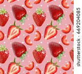 seamless vector strawberries... | Shutterstock .eps vector #669204085