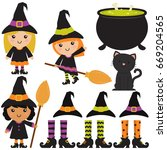 cute witches   cauldron  ... | Shutterstock .eps vector #669204565
