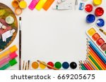 colorful drawing supplies. | Shutterstock . vector #669205675