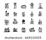 houses sketches. building icons ... | Shutterstock .eps vector #669210355
