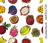 exotic fruit seamless pattern ... | Shutterstock .eps vector #669211735