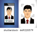 mobile app   face recognition... | Shutterstock .eps vector #669220579