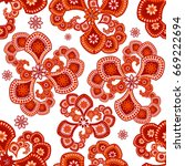 abstract floral seamless... | Shutterstock .eps vector #669222694