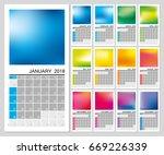 creative wall calendar 2018... | Shutterstock .eps vector #669226339