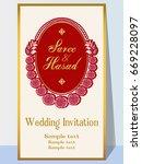 indian wedding invitation card...   Shutterstock .eps vector #669228097